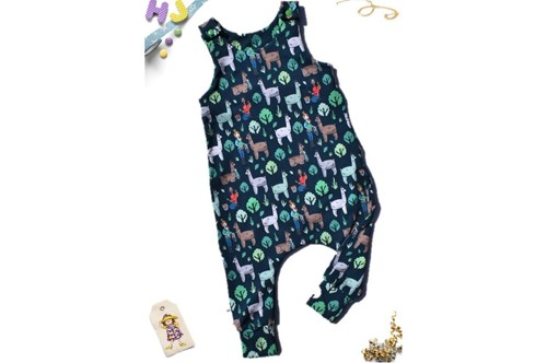 Click to order 12-18m Harem Romper Llama Trek now