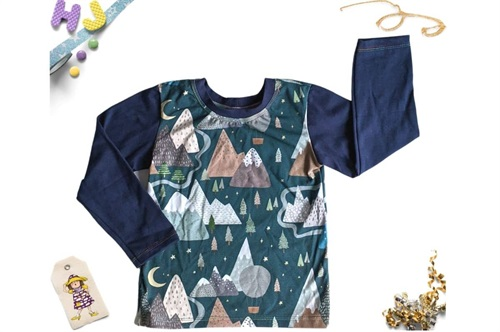 Click to order Age 4 Eclipse Long Sleeved Top Teal Mountains now
