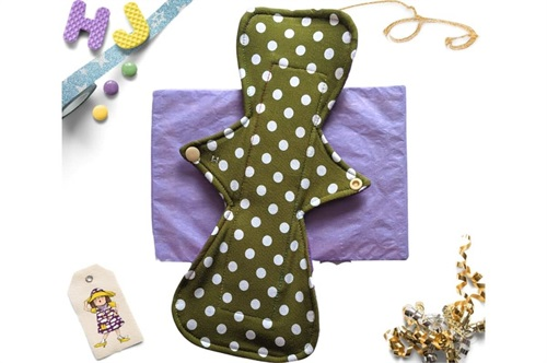 Click to order  12 inch Cloth Pad Chartreuse Dots now