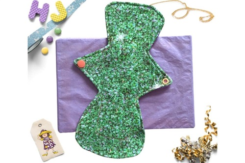 Click to order  10 inch Cloth Pad Green Glitter now
