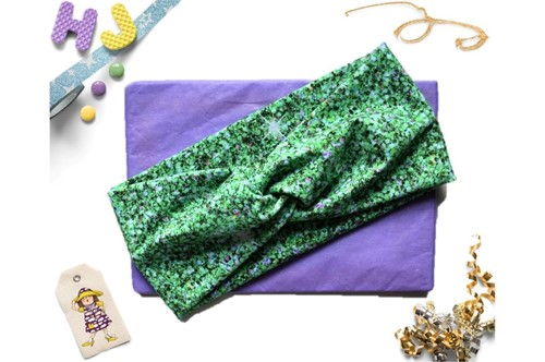 Click to order  Faux Twist Headband Green Glitter now