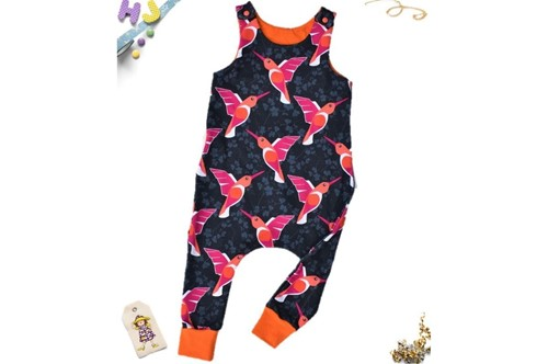 Click to order 18-24m Harem Romper Hummingbirds (French Terry) now