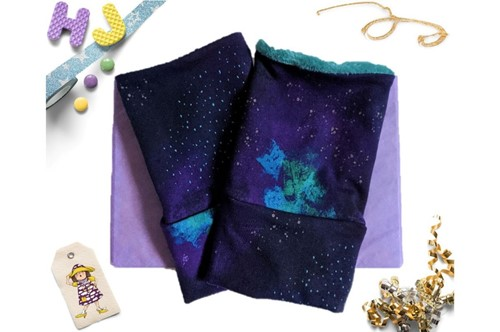 Click to order Medium Adult Wrist Warmers Indigo Imaginarium now