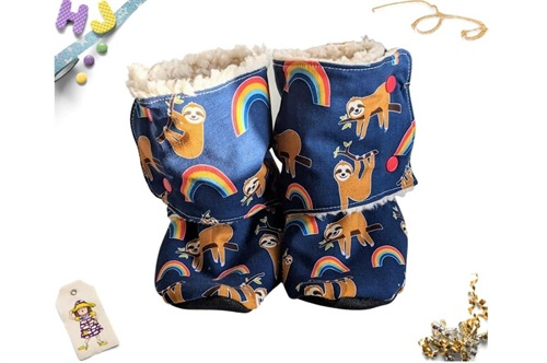 Click to order Kid Size 13 Sherpa Stay on Booties Sloths and Rainbows now