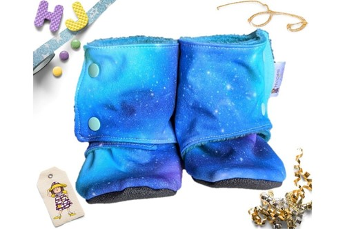 Click to order Kid Size 8 Fleece Stay on Booties Space Time now