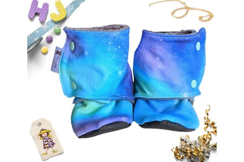 Click to order Kid Size 9 Fleece Stay on Booties Space Time now