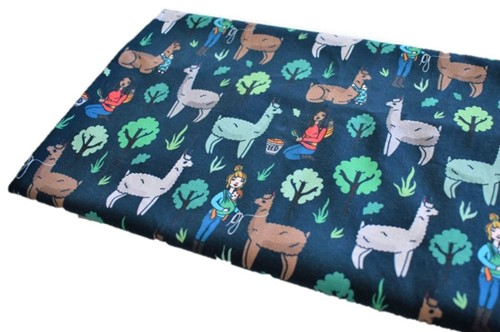 Click to order custom made items in the Llama Trek fabric