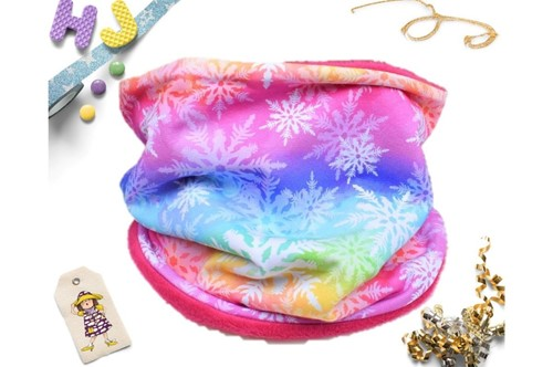 Click to order Age 1-4 Snood Rainbow Snowflakes now