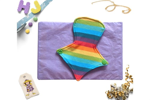 Click to order  7 inch Thong Liner Cloth Pad Rainbow Stripes now