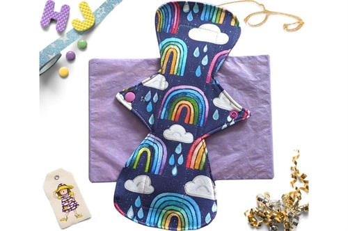 Click to order  11 inch Cloth Pad Rainbows and Raindrops now