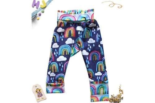 Click to order 0m-6m Grow with Me Pants Rainbows and Raindrops now