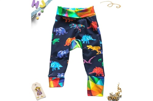 Click to order 0m-6m Grow with Me Pants Rainbowsaurs now