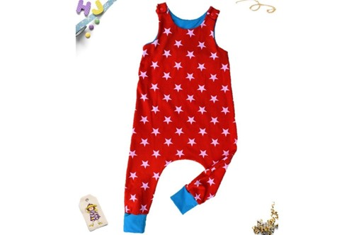 Buy Age 3-4 Harem Romper Red Stars now using this page
