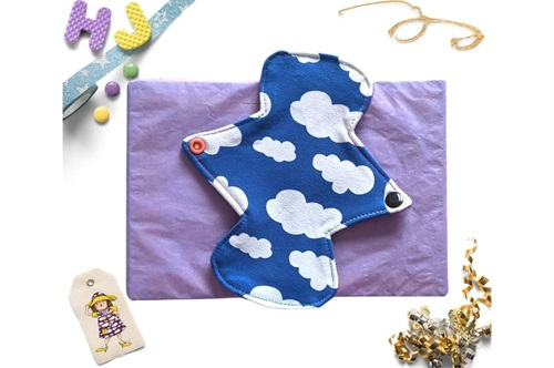 Click to order  7 inch Cloth Pad Royal Blue Clouds now