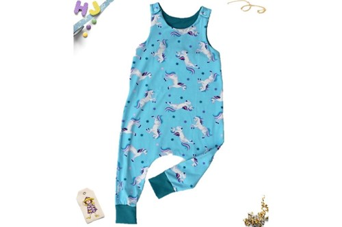 Click to order 18-24m Harem Romper Sky Blue Unicorns now