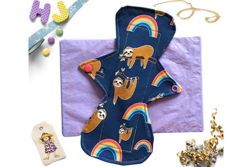 Click to order  10 inch Cloth Pad Sloths and Rainbows now