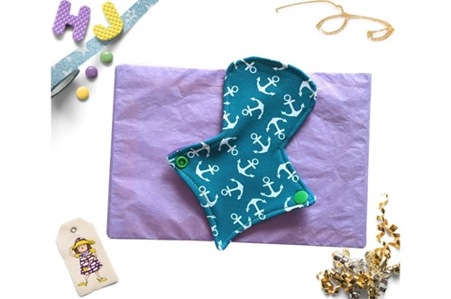 Click to order  7 inch Thong Liner Cloth Pad Teal Anchors now
