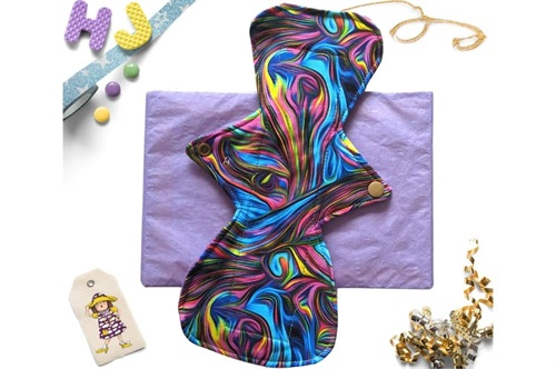 Click to order  11 inch Cloth Pad Teal and Pink Swirls now