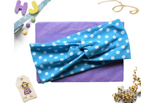 Click to order  Faux Twist Headband Turquoise Dots now