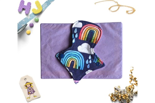 Click to order  7 inch Thong Liner Cloth Pad Rainbows and Raindrops now