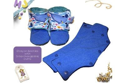 Click to order custom made Stay on Booties with Interchangeable Cuffs