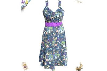 Twirly Juice Dress in Moon Gazing Hares with purple
