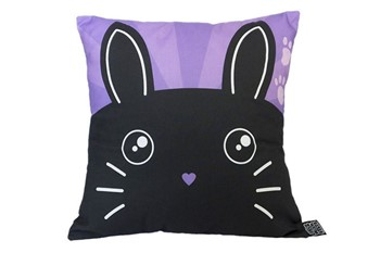 bunny rabbit cushion black on a purple background