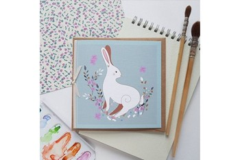 greetings card with hand drawn hare